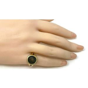 Vintage 18k Yellow Gold Ancient Lucius Verus Roman Denarius Bronze Coin Ring