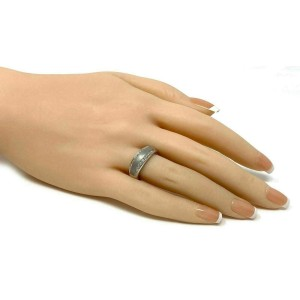 Roberto Coin Diamonds 18k White Gold Textured 7mm Wide Band Ring