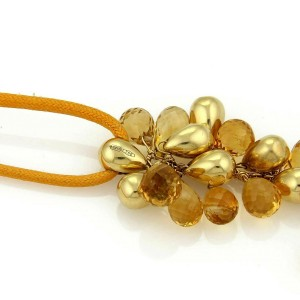 Marco Bicego Acapulco Citrine 18k Yellow Gold Cluster Bead & Long Cord Necklace