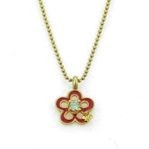 Tous Topaz & Enamel 18k Yellow Gold Flower & Bee Pendant Bead Necklace