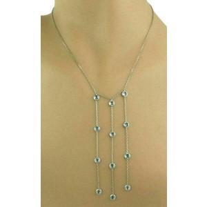 Gucci Blue Topaz Triple Strand Long Dangle Pendant 18k White Gold Necklace