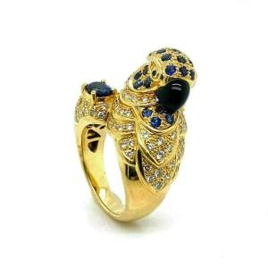 Stunning 3.46ct Diamond Sapphire 18k Yellow Gold 3D Parrot Ring
