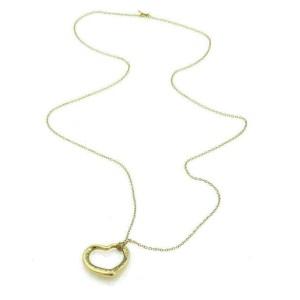Tiffany & Co. Peretti Diamond 18k Yellow Gold Large Open Heart Pendant