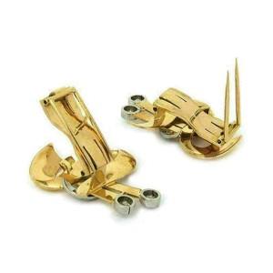 Retro Diamond 18k Two Tone Gold Fancy Earrings & Brooch Set