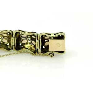 Estate Opal Diamonds & Black Enamel 14K Yellow Gold Bracelet