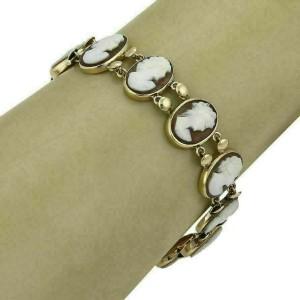 Estate 14k Yellow Gold Oval Link Shell Women Cameo Bracelet