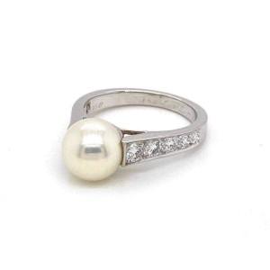Cartier Zelda 9mm Pearl Diamond 18k White Gold Ring w/Paper