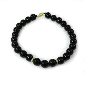 Diamond & Onyx 14k Yellow Gold 13.5mm Beaded Necklace