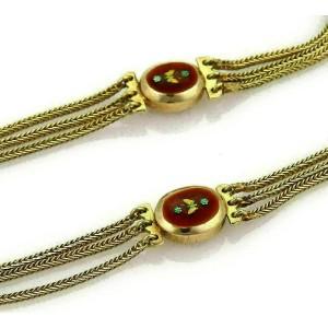 Vintage Red Floral Enamel Triple Strand 18k Yellow Gold Tassel Necklace
