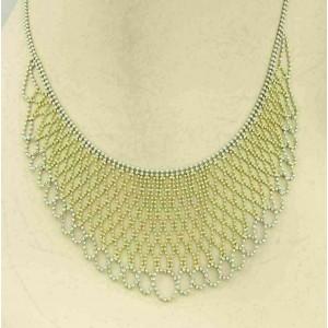Double Strand Beaded Wide Fancy Drape 14k Two Tone Gold Necklace