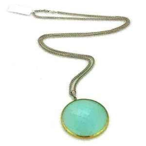 Gurhan Aqua Chalcedony Sterling & 24k Layered Gold Large Pendant Necklace