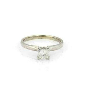 EGL 0.55ct Princess Cut Diamond F SI2 14k White Gold Engagement