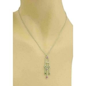 Tiffany & Co. Green & Pink Tourmaline Triple Strand 18k White Gold Pendant