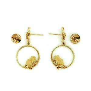 Carrera y Carrera 18k Yellow Gold Frog Hoop Drop Dangle Earrings