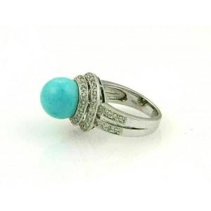 Estate Diamond & Turquoise 18k White Gold Spiral Cocktail Ring