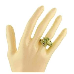 Diamond Ruby Emerald 18k Yellow Gold Enamel Snake Bypass Ring