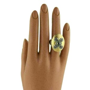 Gurhan Oval Dome Diamond 24k Gold & Sterling Silver Hammere Rt. $2,935