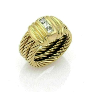 Charriol Diamond 18k Gold Classique Triple Cable Stack Band Ring