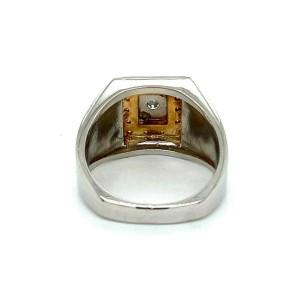 Men's Diamond Platinum & 18k Gold Rectangular Top Ring