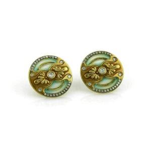 Plique a Jour Enamel & Diamond Round Stud 18k Yellow Gold Earrings