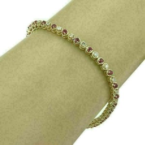 """Diamond & Ruby 14k Yellow Gold Tennis Bracelet 7.25"""" Long"""