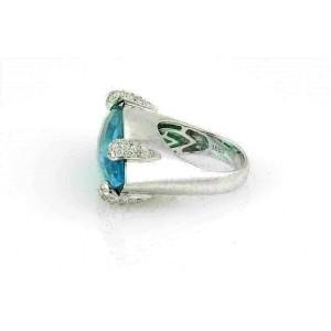 BA Italy 20ct Marquise Blue Topaz & Diamond 18k White Gold Ring