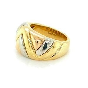 Bvlgari 18k Tri Color Gold Fancy Line Design Dome Ring