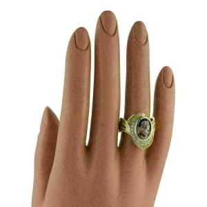 Mitsuo Kaji Diamond Cameo Painted Porcelain Platinum 18k Gold Ring