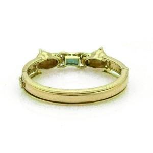 Estate Green 4.6ct Green Tourmaline Diamond 18k Gold 2 Panther Bracelet