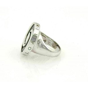 Bvlgari Onyx Spinning Optical 18k White Gold & Stainless Steel Ring Size 5.5