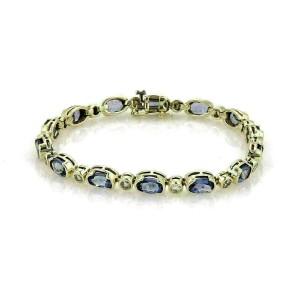 Bezel Set Tanzanite & Diamond 14k Yellow Gold Bracelet