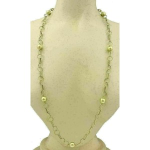 """Balls & Twisted Wire 14k Yellow Gold Link Chain Necklace 35"""""""