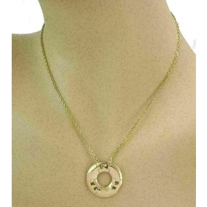 Hermes H Style 18k Yellow Gold Circle Pendant & Chain