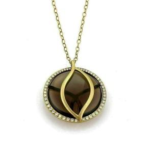 Carelle Brooke Leaf Diamond Smokey Quartz Perimeter 18k Gold Pendant