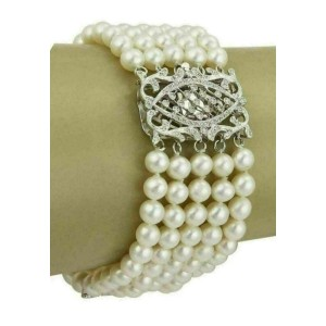 Diamonds Multi-Strand 18k White Gold Wide Pearl Bracelet