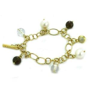 K Di Kuore Diamond Pearls & Quartz Dangle Charms 18k Yellow Gold Link Bracelet