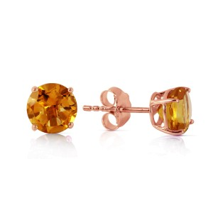 0.95 CTW 14K Solid Rose Gold Petite Citrine Stud Earrings