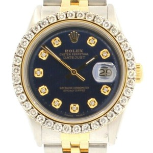 Vintage ROLEX Oyster Perpetual Datejust 36mm Blue DIAMOND Dial Men's Watch