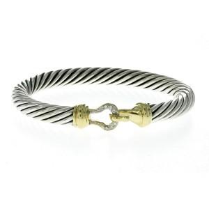 Auth David Yurman 925 Sterling Silver & 18K Gold Diamond Hook Bangle Bracelet