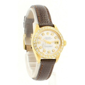 Ladies ROLEX President 18k Yellow Gold Oyster Perpetual Datejust 26mm Diamonds