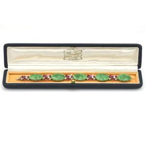 Art Deco Carved Jade Ruby Diamond Bracelet in 18k Gold ( 12.00 ct tw )