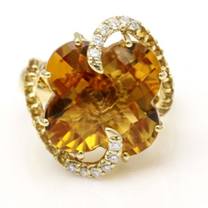 Sonia Bitton Four Leaf Clover Citrine and Diamond Ring in 14k Yellow Gold