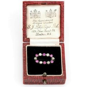 SJ Phillips Old Mine Cut Diamond Ruby Antique Brooch with Original Box