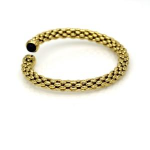 Blue Sapphire Diamond Cuff Bangle Bracelet in 18k Yellow Gold Signed WC