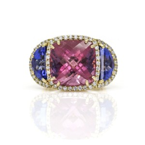 AGL Certified Natural Pink Spinel and Tanzanite Diamond Ring in 18k Yellow Gold