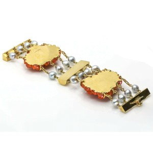Seaman Schepps Pearl Red Coral Flower Statement Bracelet in 18k Yellow Gold