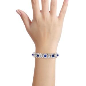 23.75 Carat 18k White Gold Blue Sapphire Diamond Tennis Bracelet