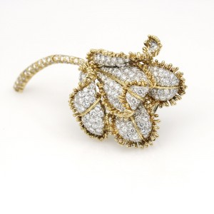David Webb Diamond Flower Brooch in 18k Yellow Gold and Platinum