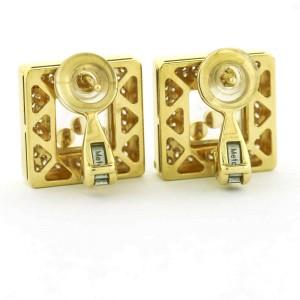 Chopard Happy Diamond Square Stud Earrings 18k Yellow Gold