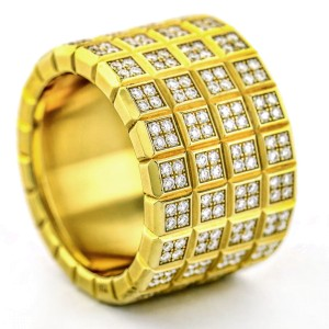 Chopard Four-Row Ice Cube Diamond Pave Band Ring in 18k Yellow Gold